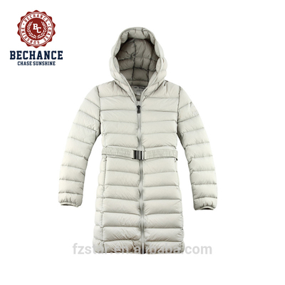 Women Long Ultralight Down Jacket with Hoody