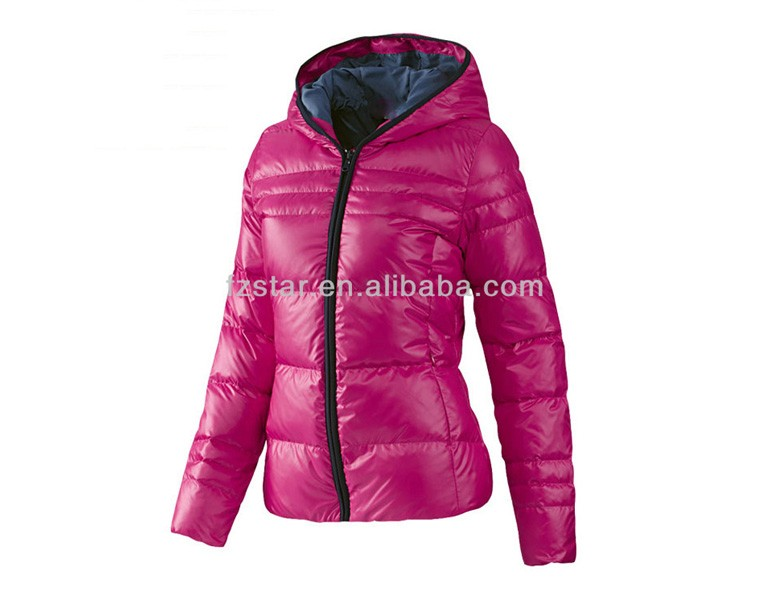 Ladies Shinning Down Jacket with Hood